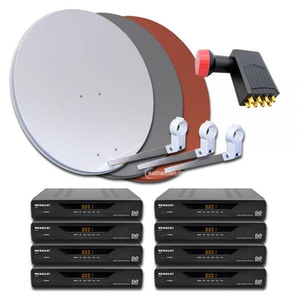 8 Teilnehmer Digitale Sat Satelliten Anlage Receiver 3600 Octo LNB
